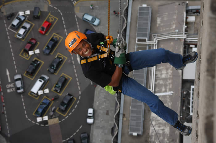 George abseiling