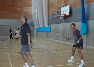 Tariq and Shariff Shamsudeen playing badminton